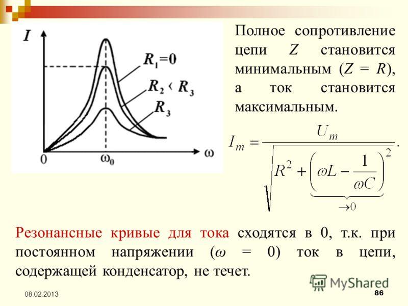 86 08.02.2013 Полное сопротивление цепи Z становится минимальным (Z = R), а ток становится максимальным. Резонансные кривые для тока сходятся в 0, т.к. при постоянном напряжении (ω = 0) ток в цепи, содержащей конденсатор, не течет.