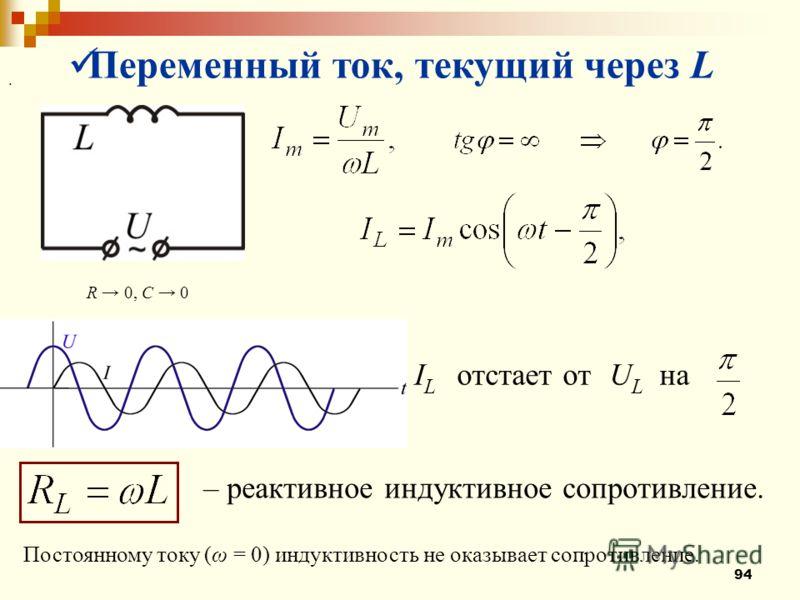 94 Переменный ток, текущий через L R 0, C 0 I L отстает от U L на. – реактивное индуктивное сопротивление. Постоянному току (ω = 0) индуктивность не оказывает сопротивление.