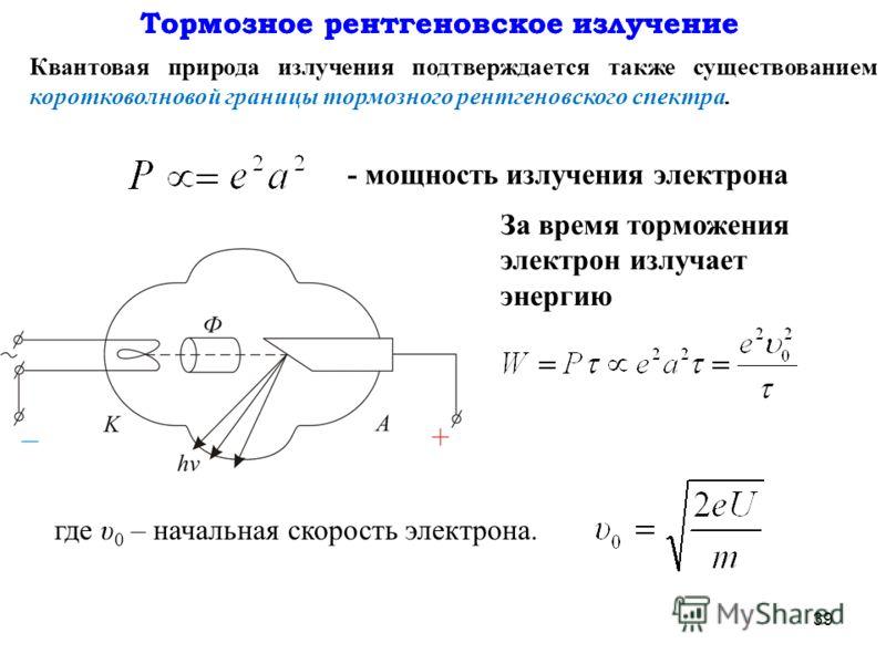 39 За время торможения электрон излучает энергию Тормозное рентгеновское излучение Квантовая природа излучения подтверждается также существованием коротковолновой границы тормозного рентгеновского спектра. - мощность излучения электрона где υ 0 – нач