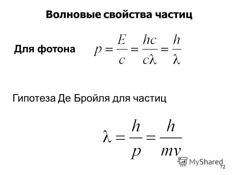 Для фотона Гипотеза Де Бройля для частиц Волновые свойства частиц 72