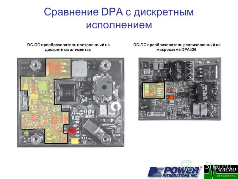 DC-DC преобразователь построенный на дискретных элементах Сравнение DPA с дискретным исполнением DC-DC преобразователь реализованный на микросхеме DPA426