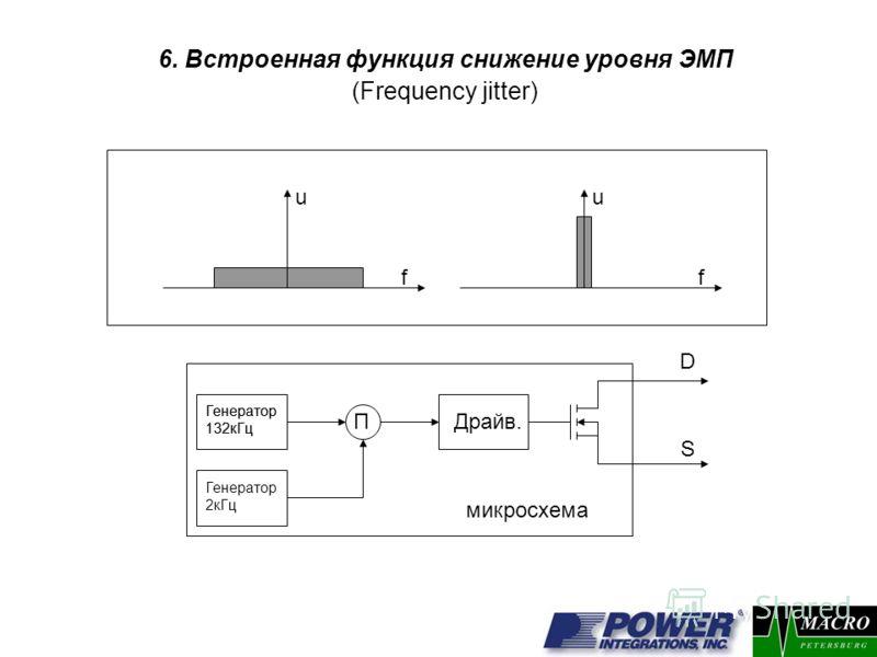 6. Встроенная функция снижение уровня ЭМП (Frequency jitter) f f uu П Генератор 132кГц Генератор 2кГц Генератор 132кГц D S Драйв. микросхема