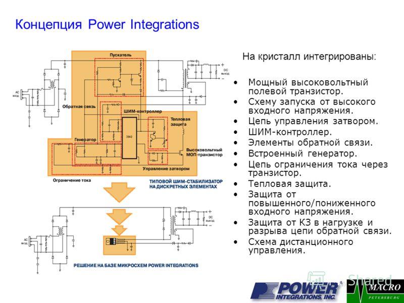 Концепция Power Integrations Мощный высоковольтный полевой транзистор. Схему запуска от высокого входного напряжения. Цепь управления затвором. ШИМ-контроллер. Элементы обратной связи. Встроенный генератор. Цепь ограничения тока через транзистор. Теп