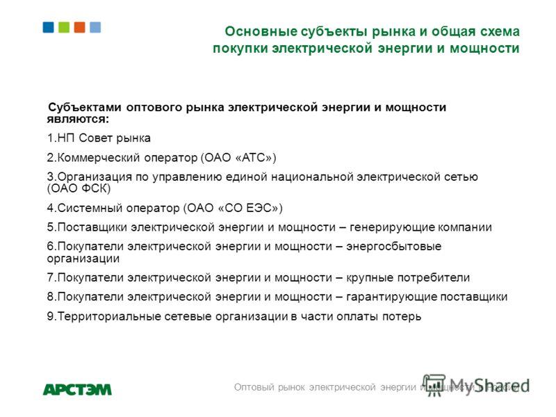 Основные субъекты рынка и общая схема покупки электрической энергии и мощности Субъектами оптового рынка электрической энергии и мощности являются: 1.НП Совет рынка 2.Коммерческий оператор (ОАО «АТС») 3.Организация по управлению единой национальной э