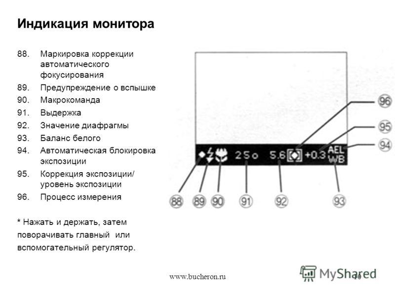 www.bucheron.ru10 Индикация монитора 88.Маркировка коррекции автоматического фокусирования 89.Предупреждение о вспышке 90.Макрокоманда 91.Выдержка 92.Значение диафрагмы 93.Баланс белого 94.Автоматическая блокировка экспозиции 95.Коррекция экспозиции/