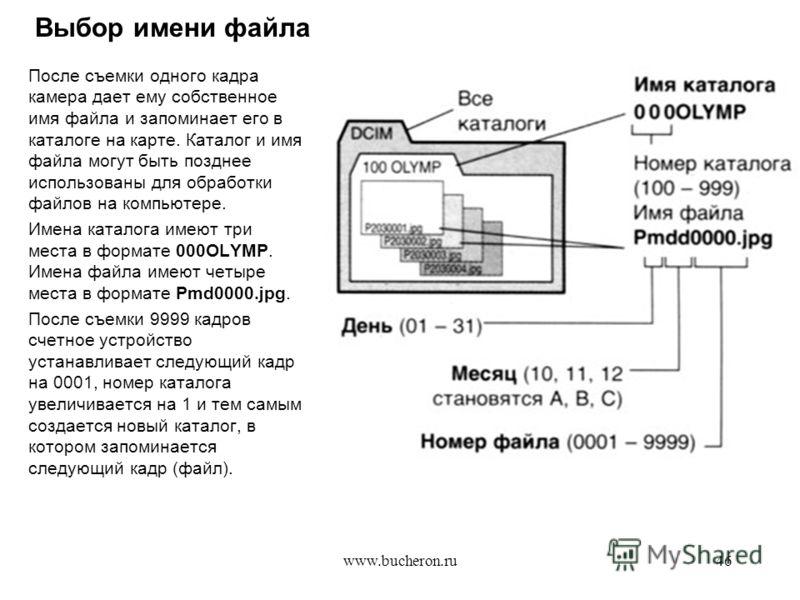www.bucheron.ru46 Выбор имени файла После съемки одного кадра камера дает ему собственное имя файла и запоминает его в каталоге на карте. Каталог и имя файла могут быть позднее использованы для обработки файлов на компьютере. Имена каталога имеют три