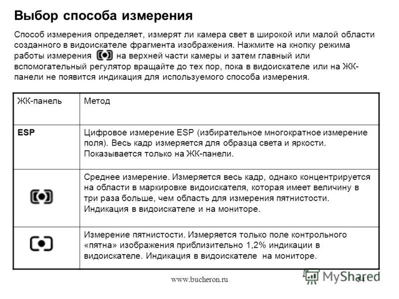 www.bucheron.ru54 Выбор способа измерения Способ измерения определяет, измерят ли камера свет в широкой или малой области созданного в видоискателе фрагмента изображения. Нажмите на кнопку режима работы измерения на верхней части камеры и затем главн
