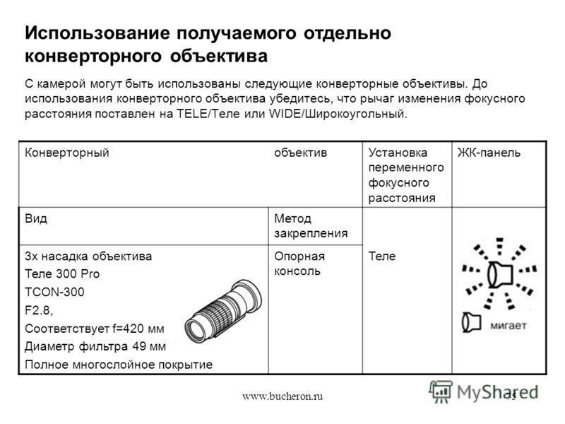 www.bucheron.ru75 Использование получаемого отдельно конверторного объектива С камерой могут быть использованы следующие конверторные объективы. До использования конверторного объектива убедитесь, что рычаг изменения фокусного расстояния поставлен на