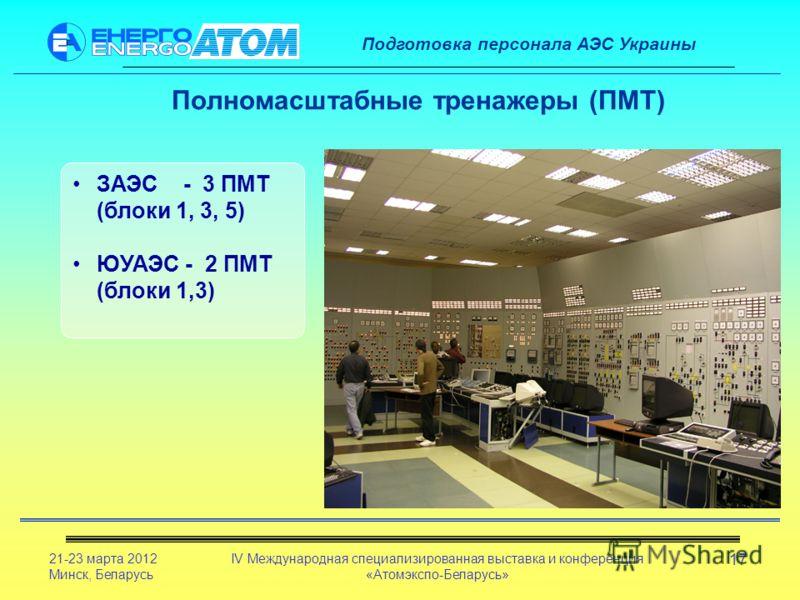 Подготовка персонала АЭС Украины 21-23 марта 2012 Минск, Беларусь IV Международная специализированная выставка и конференция «Атомэкспо-Беларусь» 17 Полномасштабные тренажеры (ПМТ) ЗАЭС - 3 ПМТ (блоки 1, 3, 5) ЮУАЭС - 2 ПМТ (блоки 1,3)