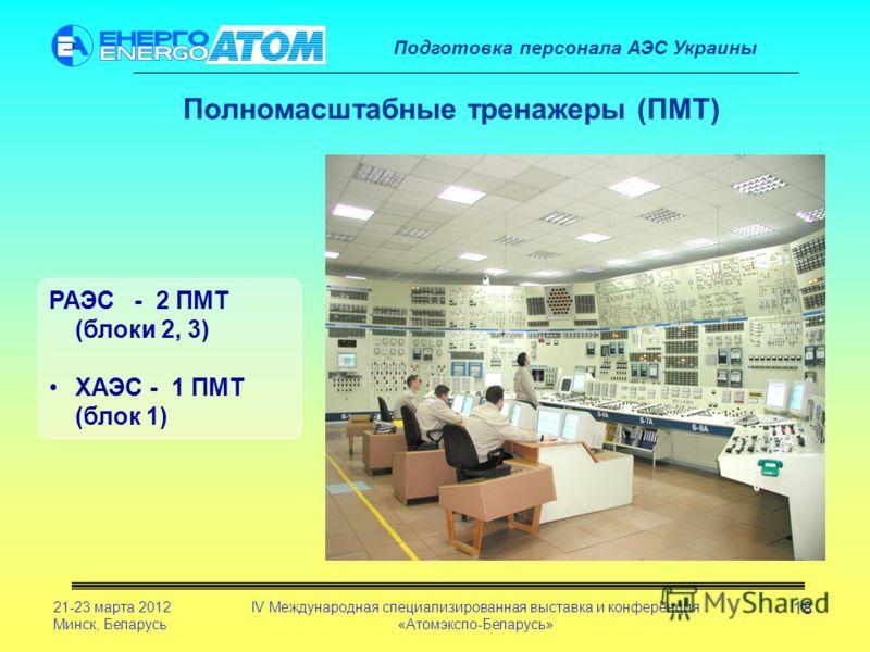 Подготовка персонала АЭС Украины 21-23 марта 2012 Минск, Беларусь IV Международная специализированная выставка и конференция «Атомэкспо-Беларусь» 18 РАЭС - 2 ПМТ (блоки 2, 3) ХАЭС - 1 ПМТ (блок 1) Полномасштабные тренажеры (ПМТ)