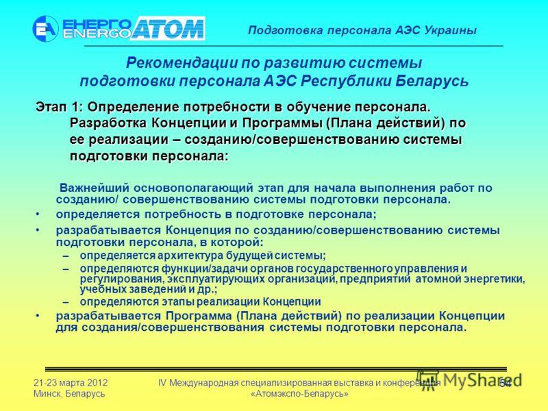 Подготовка персонала АЭС Украины 21-23 марта 2012 Минск, Беларусь IV Международная специализированная выставка и конференция «Атомэкспо-Беларусь» 54 Рекомендации по развитию системы подготовки персонала АЭС Республики Беларусь Этап 1: Определение пот