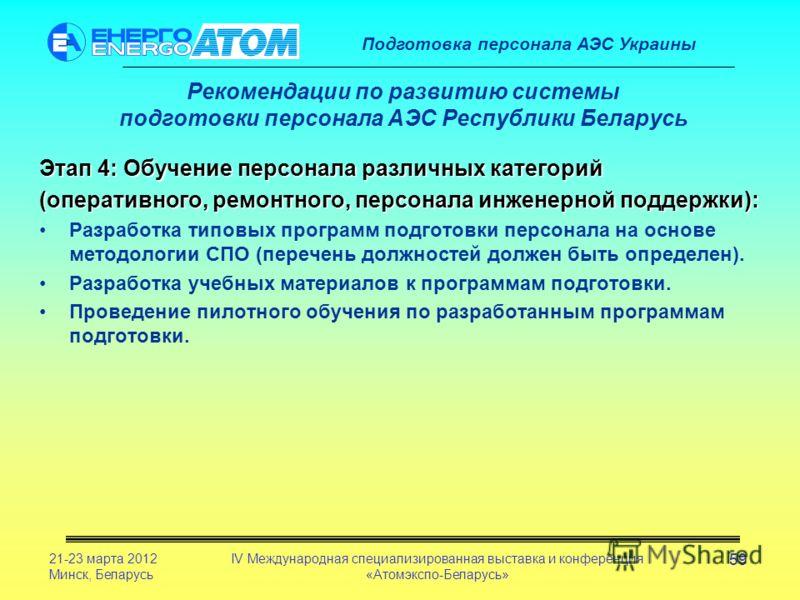 Подготовка персонала АЭС Украины 21-23 марта 2012 Минск, Беларусь IV Международная специализированная выставка и конференция «Атомэкспо-Беларусь» 59 Рекомендации по развитию системы подготовки персонала АЭС Республики Беларусь Этап 4: Обучение персон
