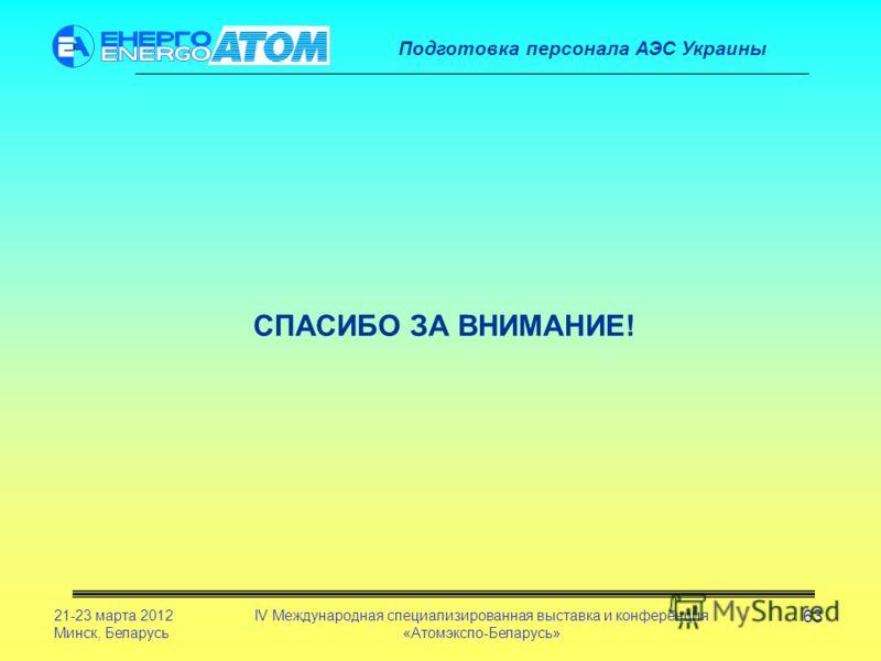 Подготовка персонала АЭС Украины 21-23 марта 2012 Минск, Беларусь IV Международная специализированная выставка и конференция «Атомэкспо-Беларусь» 63 СПАСИБО ЗА ВНИМАНИЕ!