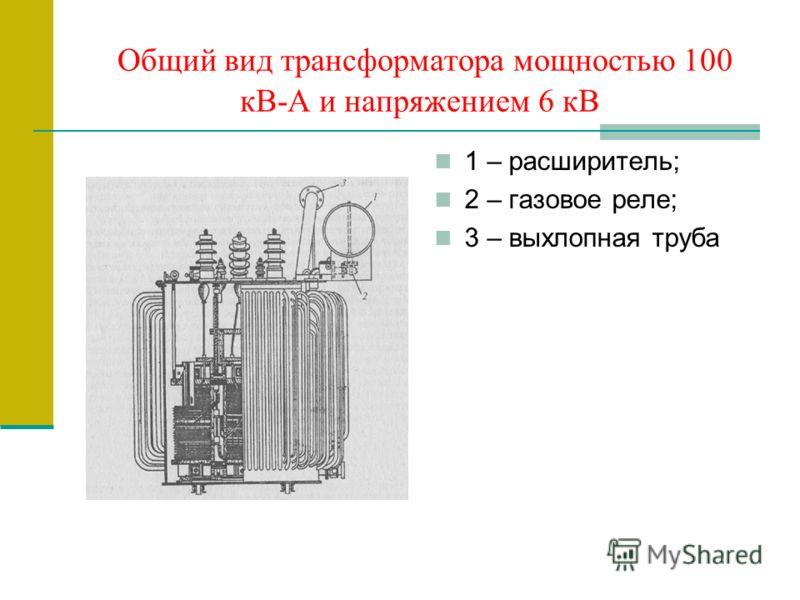 Общий вид трансформатора мощностью 100 кВ-А и напряжением 6 кВ 1 – расширитель; 2 – газовое реле; 3 – выхлопная труба