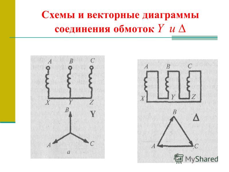 Схемы и векторные диаграммы соединения обмоток Y и