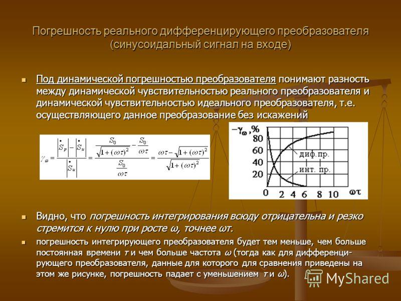 Погрешность реального дифференцирующего преобразователя (синусоидальный сигнал на входе) Под динамической погрешностью преобразователя понимают разность между динамической чувствительностью реального преобразователя и динамической чувствительностью и