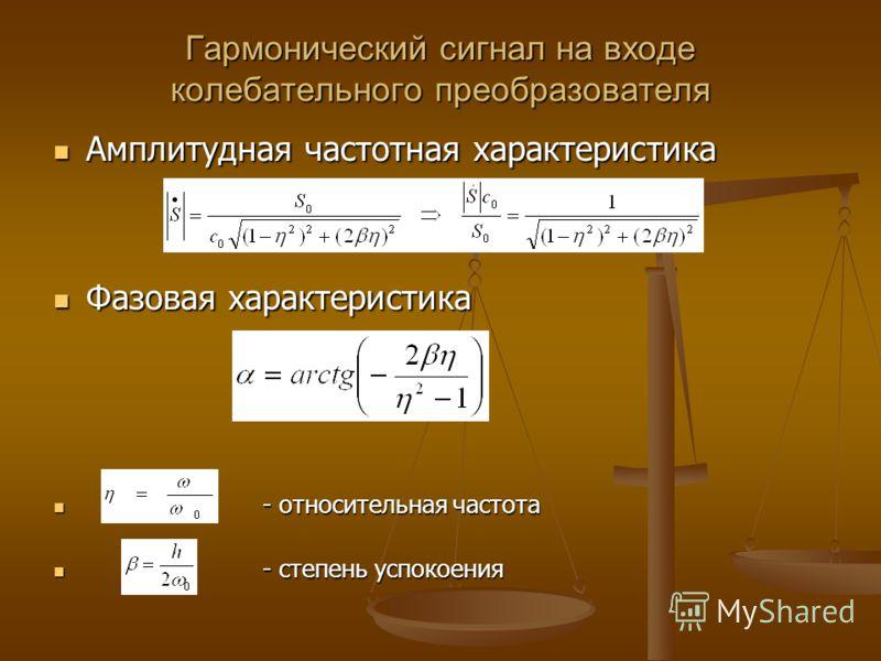 Гармонический сигнал на входе колебательного преобразователя Амплитудная частотная характеристика Амплитудная частотная характеристика Фазовая характеристика Фазовая характеристика - относительная частота - относительная частота - степень успокоения