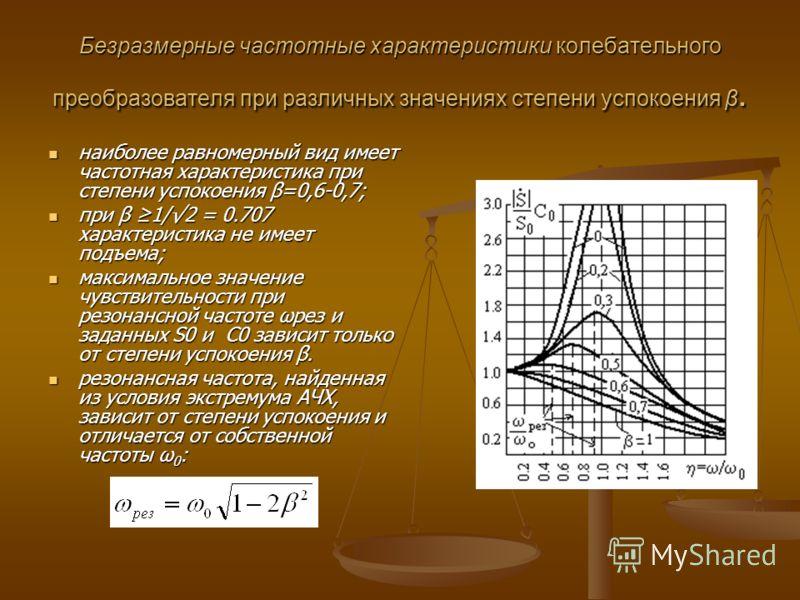 Безразмерные частотные характеристики колебательного преобразователя при различных значениях степени успокоения β. наиболее равномерный вид имеет частотная характеристика при степени успокоения β=0,6-0,7; наиболее равномерный вид имеет частотная хара