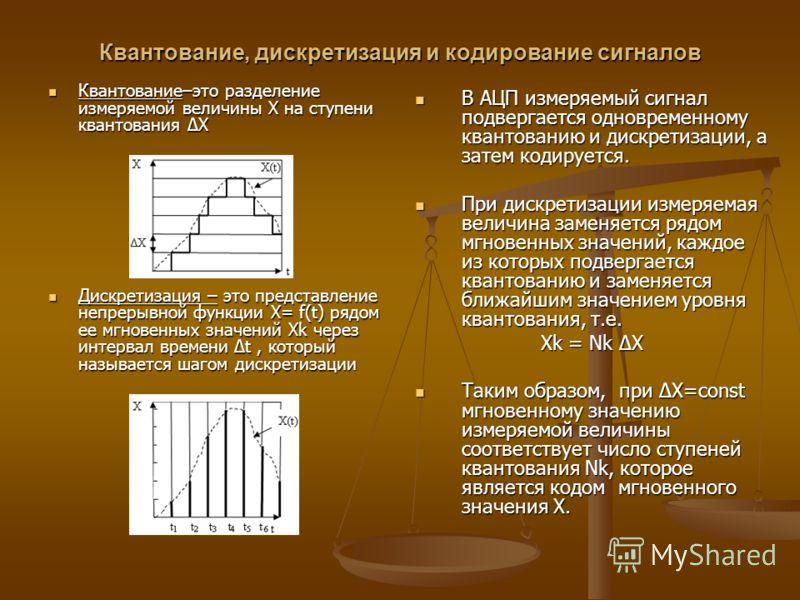 Квантование, дискретизация и кодирование сигналов Квантование–это разделение измеряемой величины Х на ступени квантования ΔХ Квантование–это разделение измеряемой величины Х на ступени квантования ΔХ Дискретизация – это представление непрерывной функ