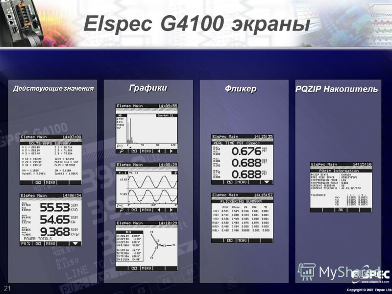 Copyright © 2007 Elspec Ltd. 21 Elspec G4100 экраны Графики PQZIP Накопитель Действующие значения Фликер