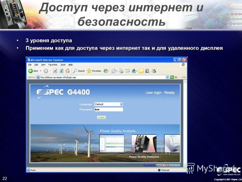 Copyright © 2007 Elspec Ltd. 22 Доступ через интернет и безопасность 3 уровня доступа3 уровня доступа Применим как для доступа через интернет так и для удаленного дисплеяПрименим как для доступа через интернет так и для удаленного дисплея