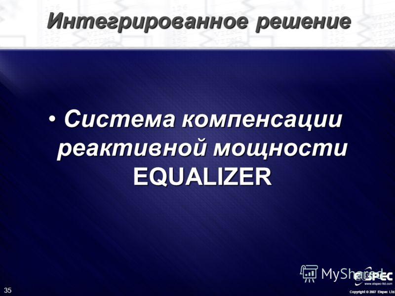 Copyright © 2007 Elspec Ltd. 35 Интегрированное решение Система компенсации реактивной мощности EQUALIZERСистема компенсации реактивной мощности EQUALIZER