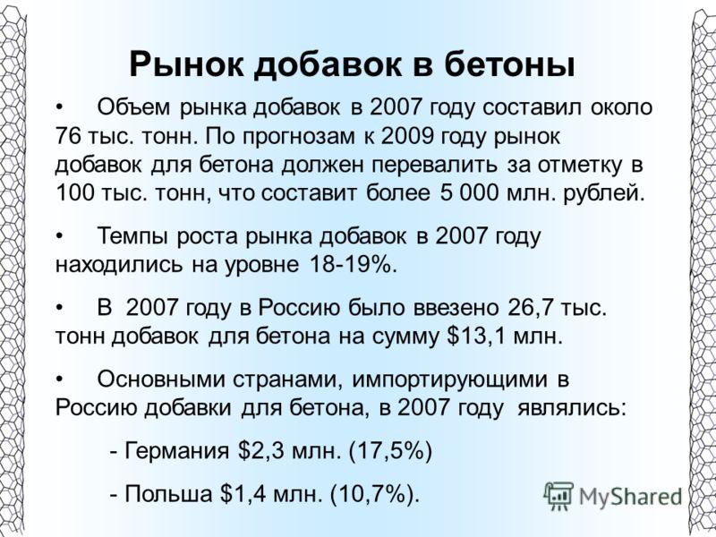 Рынок добавок в бетоны Объем рынка добавок в 2007 году составил около 76 тыс. тонн. По прогнозам к 2009 году рынок добавок для бетона должен перевалить за отметку в 100 тыс. тонн, что составит более 5 000 млн. рублей. Темпы роста рынка добавок в 2007