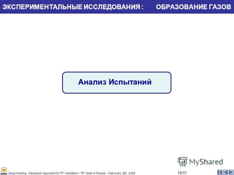 ЭКСПЕРИМЕНТАЛЬНЫЕ ИССЛЕДОВАНИЯ : ОБРАЗОВАНИЕ ГАЗОВ Анализ Испытаний Sergi Holding – Research Approach for TP Validation – TP Tests in Russia – Februrary, 8th, 2008 18/51