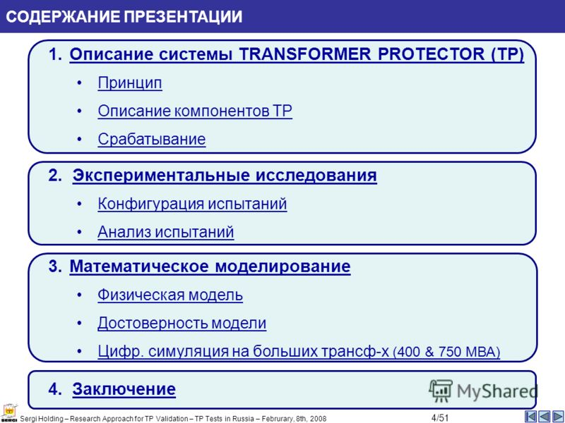 Sergi Holding – Research Approach for TP Validation – TP Tests in Russia – Februrary, 8th, 2008 СОДЕРЖАНИЕ ПРЕЗЕНТАЦИИ 1.Описание системы TRANSFORMER PROTECTOR (TP)Описание системы TRANSFORMER PROTECTOR (TP) Принцип Описание компонентов TPОписание ко