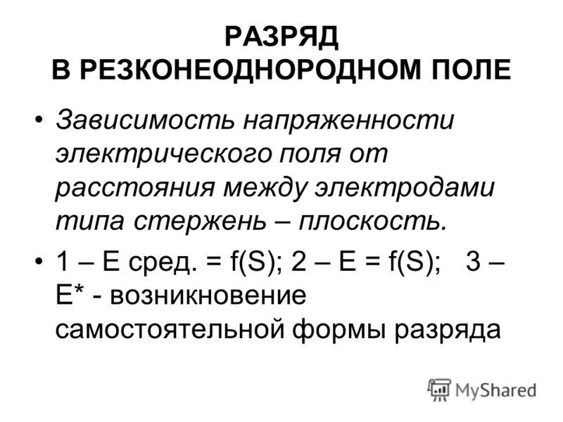 Зависимость напряженности электрического поля от расстояния между электродами типа стержень – плоскость. 1 – Е сред. = f(S); 2 – Е = f(S); 3 – Е* - возникновение самостоятельной формы разряда