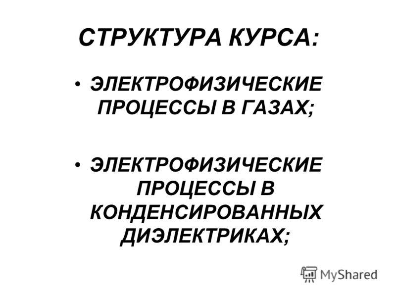 СТРУКТУРА КУРСА: ЭЛЕКТРОФИЗИЧЕСКИЕ ПРОЦЕССЫ В ГАЗАХ; ЭЛЕКТРОФИЗИЧЕСКИЕ ПРОЦЕССЫ В КОНДЕНСИРОВАННЫХ ДИЭЛЕКТРИКАХ;
