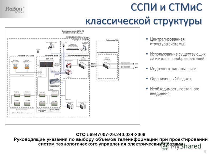 Централизованная структура системы; Использование существующих датчиков и преобразователей; Медленные каналы связи; Ограниченный бюджет; Необходимость поэтапного внедрения; ССПИ и СТМиС классической структуры 6 СТО 56947007-29.240.034-2009 Руководящи