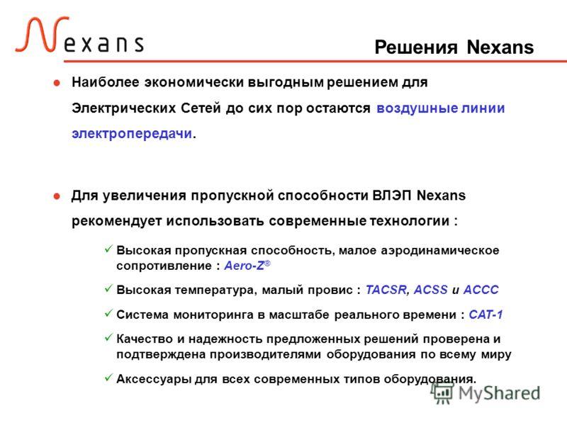 Решения Nexans Наиболее экономически выгодным решением для Электрических Сетей до сих пор остаются воздушные линии электропередачи. Для увеличения пропускной способности ВЛЭП Nexans рекомендует использовать современные технологии : Высокая пропускная