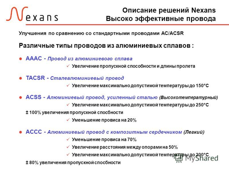 Описание решений Nexans Высоко эффективные провода Улучшения по сравнению со стандартными проводами АС/ACSR Различные типы проводов из алюминиевых сплавов : AAAC - Провод из алюминиевого сплава Увеличение пропускной способности и длины пролета TACSR
