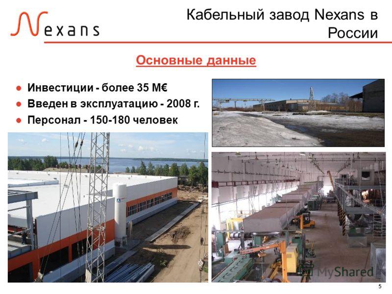 5 Основные данные Инвестиции - более 35 M Введен в эксплуатацию - 2008 г. Персонал - 150-180 человек Кабельный завод Nexans в России