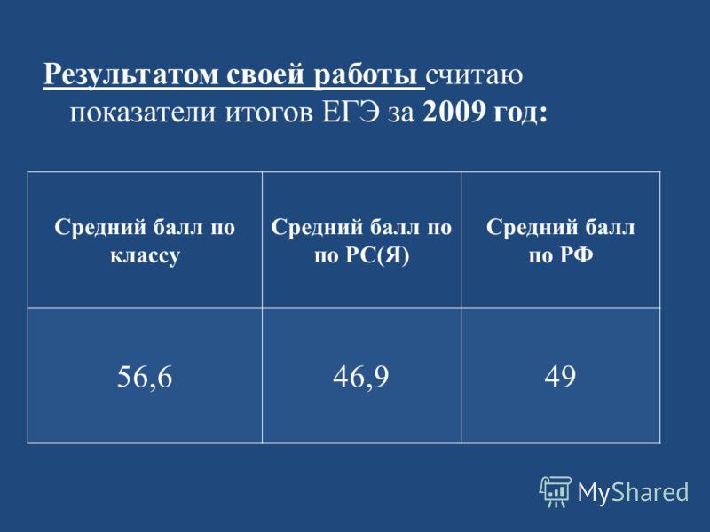 Результатом своей работы считаю показатели итогов ЕГЭ за 2009 год: Средний балл по классу Средний балл по по РС(Я) Средний балл по РФ 56,646,949