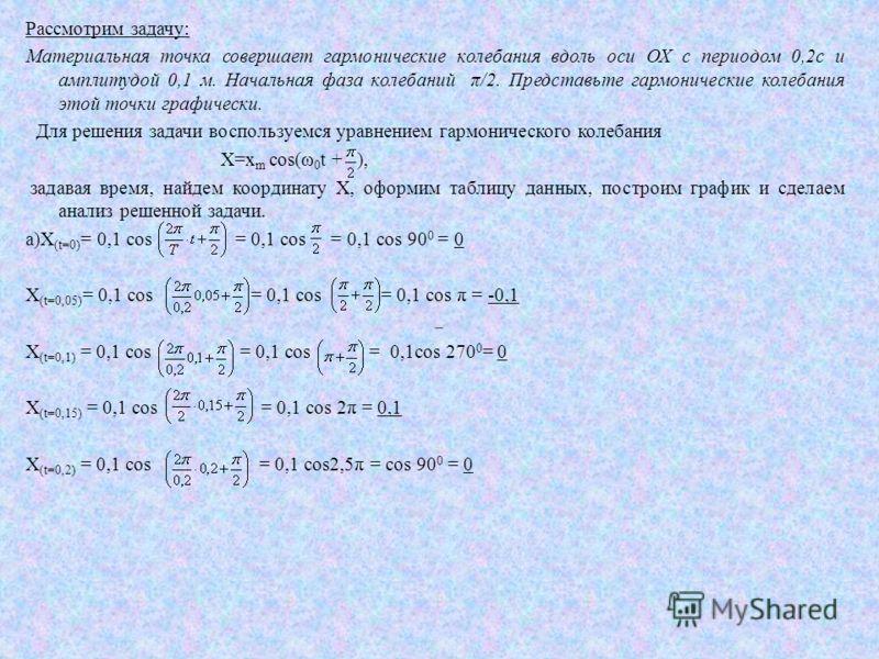 Рассмотрим задачу: Материальная точка совершает гармонические колебания вдоль оси ОХ с периодом 0,2с и амплитудой 0,1 м. Начальная фаза колебаний π/2. Представьте гармонические колебания этой точки графически. Для решения задачи воспользуемся уравнен