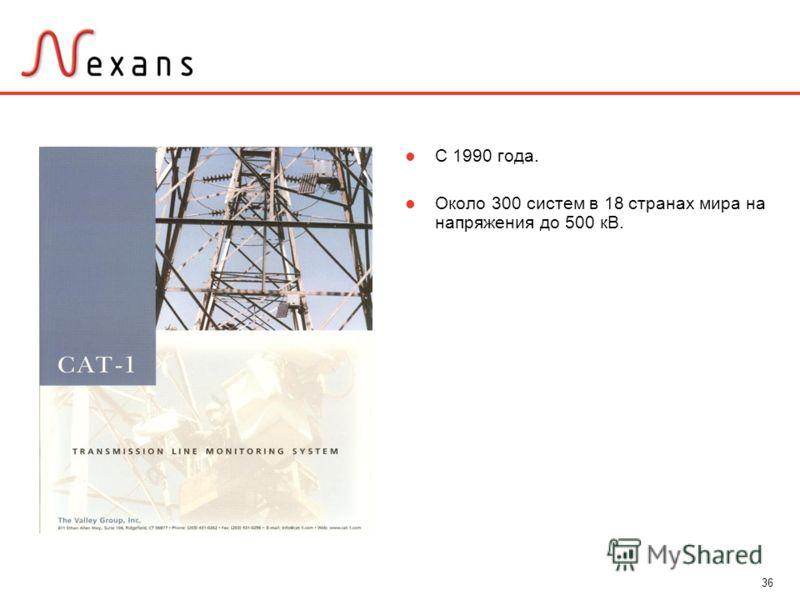 36 С 1990 года. Около 300 систем в 18 странах мира на напряжения до 500 кВ.