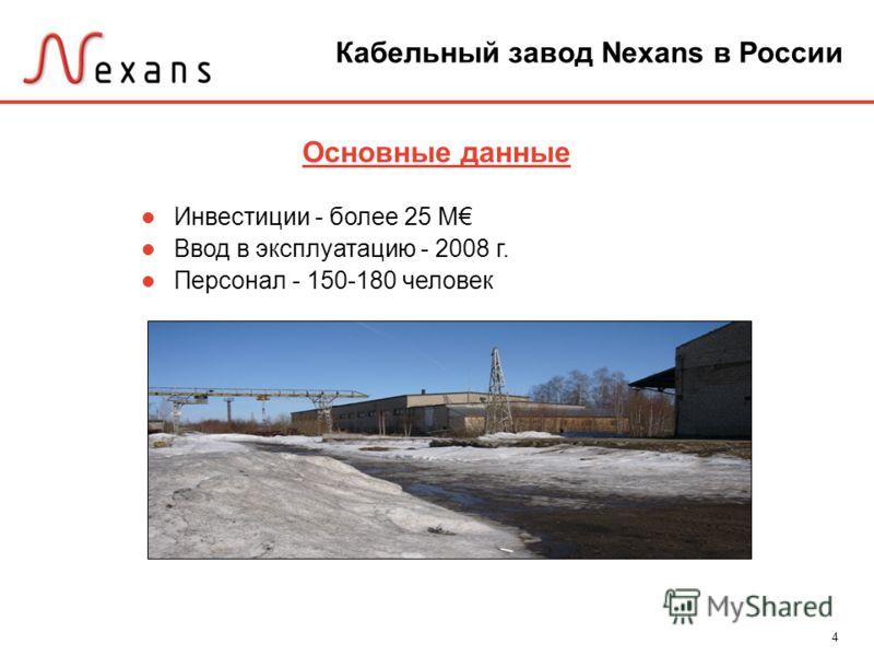 4 Основные данные Инвестиции - более 25 M Ввод в эксплуатацию - 2008 г. Персонал - 150-180 человек Кабельный завод Nexans в России