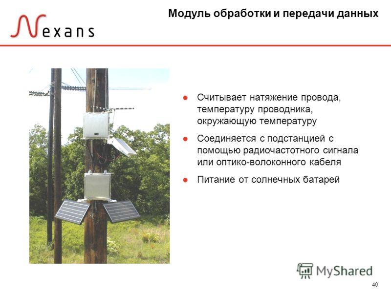 40 Модуль обработки и передачи данных Считывает натяжение провода, температуру проводника, окружающую температуру Соединяется с подстанцией с помощью радиочастотного сигнала или оптико-волоконного кабеля Питание от солнечных батарей