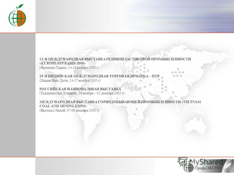 ЮЖНО – АФРИКАНСКАЯ МЕЖДУНАРОДНАЯ ТОРГОВАЯ ВЫСТАВКА «SAITEX» (ЮАР/Йоханнесбург, 27-30 сентября) МЕЖДУНАРОДНЫЙ ПРОМЫШЛЕННЫЙ ФОРУМ, МЕТАЛЛУРГИЧЕСКАЯ ВЫСТАВКА «SIDEROMETALURGICA»-2005 (Испания/Бильбао, 27-30 сентября) 11-Я МЕЖДУНАРОДНАЯ ВЫСТАВКА ТЕХНОЛОГ