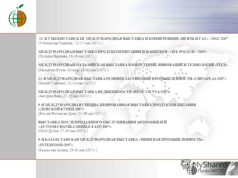 12-Я МЕЖДУНАРОДНАЯ ВЫСТАВКА ПО НЕФТИ, ГАЗУ И НЕФТЕХИМИИ «IRAN OIL SHOW - 2007» (Иран/Тегеран, 18 – 22 апреля 2007 г.) 28-Я МЕЖДУНАРОДНАЯ ВЫСТАВКА СТРОИТЕЛЬНОГО ОБОРУДОВАНИЯ, ТЕХНОЛОГИЙ, МАТЕРИАЛОВ, СТРОИТЕЛЬНО-ДОРОЖНОЙ ТЕХНИКИ - «BAUMA-2007» (Германи