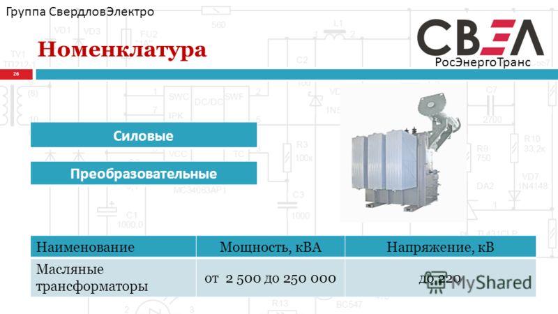 Номенклатура 26 Группа СвердловЭлектро РосЭнергоТранс Силовые Преобразовательные НаименованиеМощность, кВАНапряжение, кВ Масляные трансформаторы от 2 500 до 250 000до 220