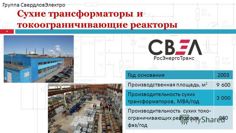 Сухие трансформаторы и токоограничивающие реакторы 4 РосЭнергоТранс Год основания 2003 Производственная площадь, м 2 9 600 Производительность сухих трансформаторов, МВА / год 3 000 Производительность сухих токо - ограничивающих реакторов, фаз / год 9