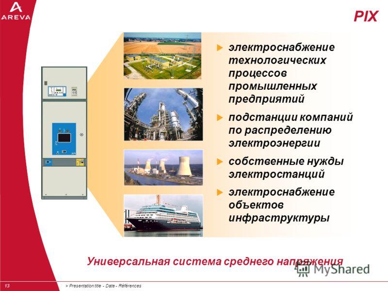 > Presentation title - Date - Références13 электроснабжение технологических процессов промышленных предприятий подстанции компаний по распределению электроэнергии собственные нужды электростанций электроснабжение объектов инфраструктуры PIX Универсал