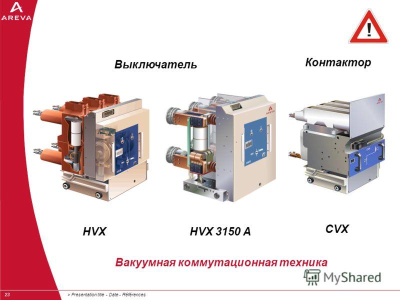 > Presentation title - Date - Références23 Вакуумная коммутационная техника Контактор Выключатель HVXHVX 3150 A CVX