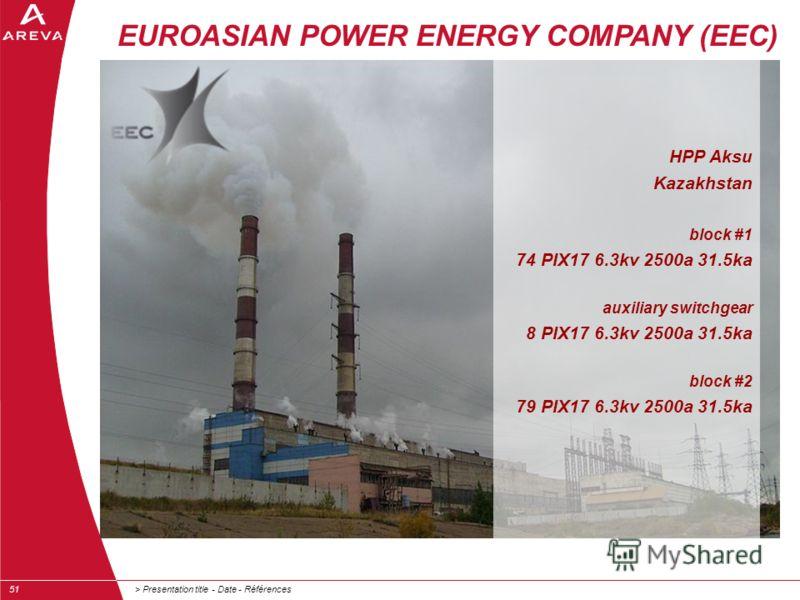 > Presentation title - Date - Références51 EUROASIAN POWER ENERGY COMPANY (EEC) HPP Aksu Kazakhstan block #1 74 PIX17 6.3kv 2500a 31.5ka auxiliary switchgear 8 PIX17 6.3kv 2500a 31.5ka block #2 79 PIX17 6.3kv 2500a 31.5ka