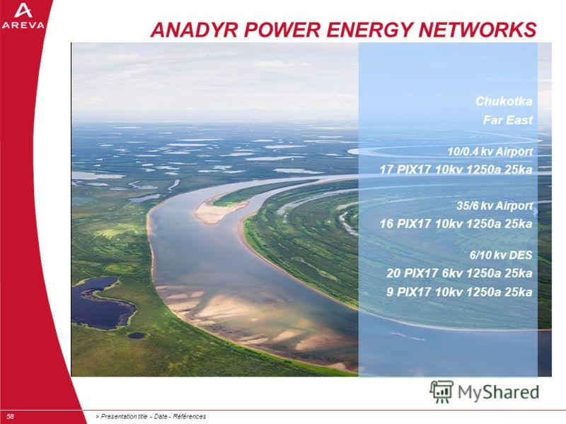 > Presentation title - Date - Références58 ANADYR POWER ENERGY NETWORKS Chukotka Far East 10/0.4 kv Airport 17 PIX17 10kv 1250a 25ka 35/6 kv Airport 16 PIX17 10kv 1250a 25ka 6/10 kv DES 20 PIX17 6kv 1250a 25ka 9 PIX17 10kv 1250a 25ka