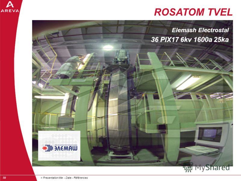 > Presentation title - Date - Références59 ROSATOM TVEL Elemash Electrostal 36 PIX17 6kv 1600a 25ka