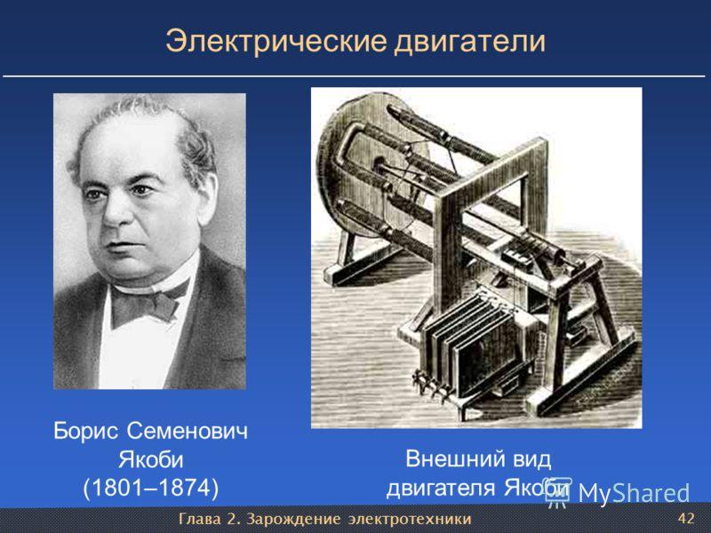 Глава 2. Зарождение электротехники 42 Электрические двигатели Борис Семенович Якоби (1801–1874) Внешний вид двигателя Якоби